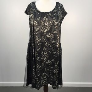 Lilith Black & Gray Printed Tulle Detailed Dress